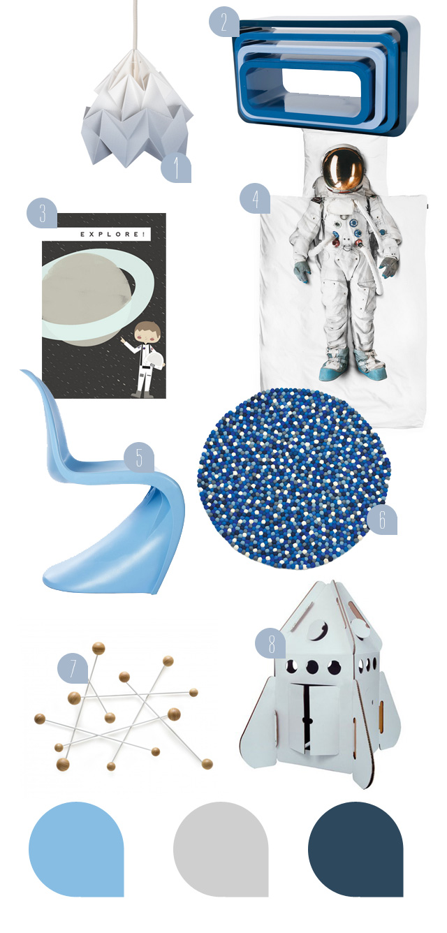 kinderzimmer f r kleine astronauten sanvie mini. Black Bedroom Furniture Sets. Home Design Ideas